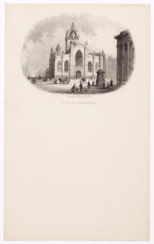 Illustrated letterhead with engraving titled 'St Giles' Cathedral' Inscribed: 'Drawn & Engd by W Banks & Son, Edin'.