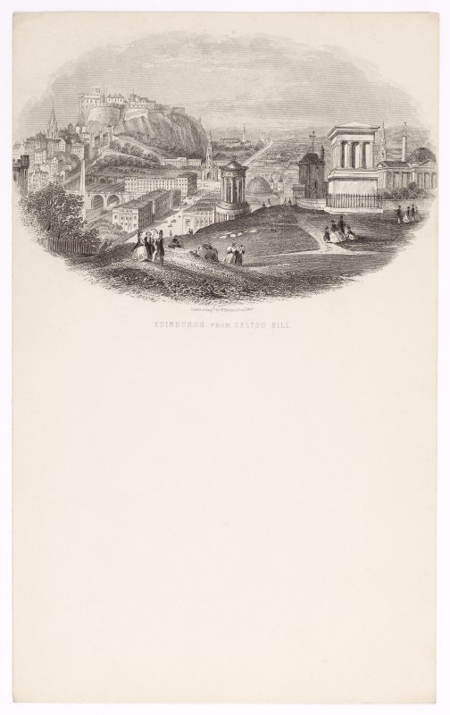 Illustrated letterhead with engraving titled 'Edinburgh from Calton Hilll' Inscribed: 'Drawn & Engd by W Banks & Son, Edin'.