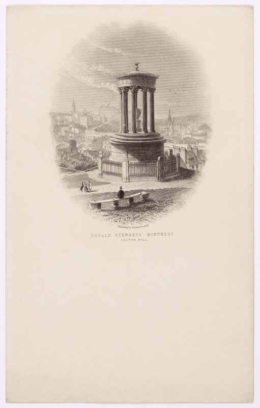 Illustrated letterhead with engraving titled 'Dugal Stewarts' Monument, Calton Hill' Inscribed: 'Drawn & Engd by W Banks & Son, Edin'.