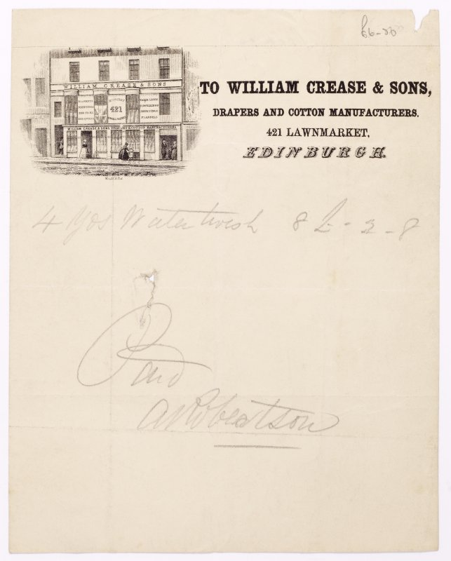 Illustrated receipt with engraving showing shop front of William Crease & Sons. Inscribed: 'To William Crease & Sons, Drapers and Cotton Manufacturers, 421 Lawnmarket, Edinburgh'. 'Paid A Robertson'.