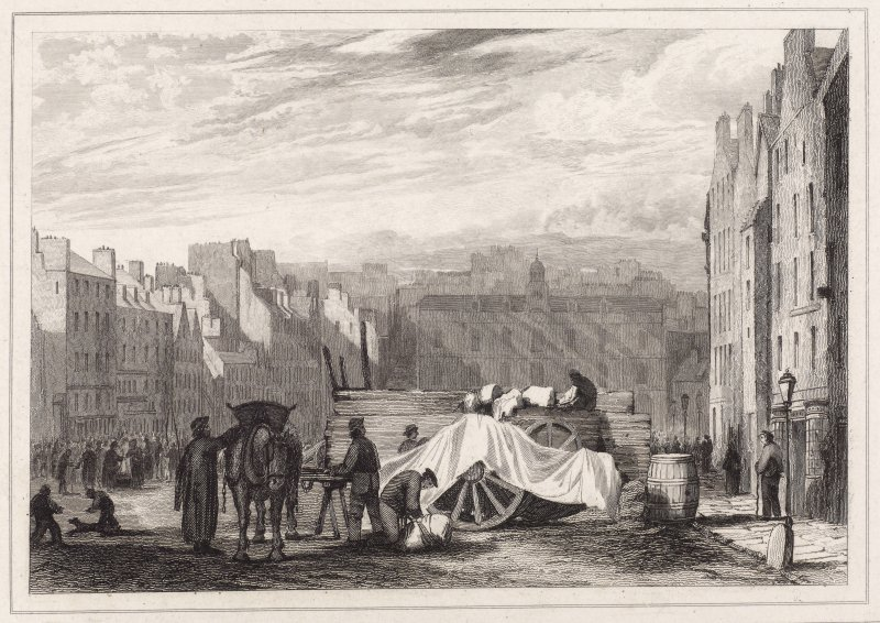 Engraving showing traders in the Grassmarket, Edinburgh. Inscribed: 'Drawn by J Ewbank, Engraved by W H Lizars'.