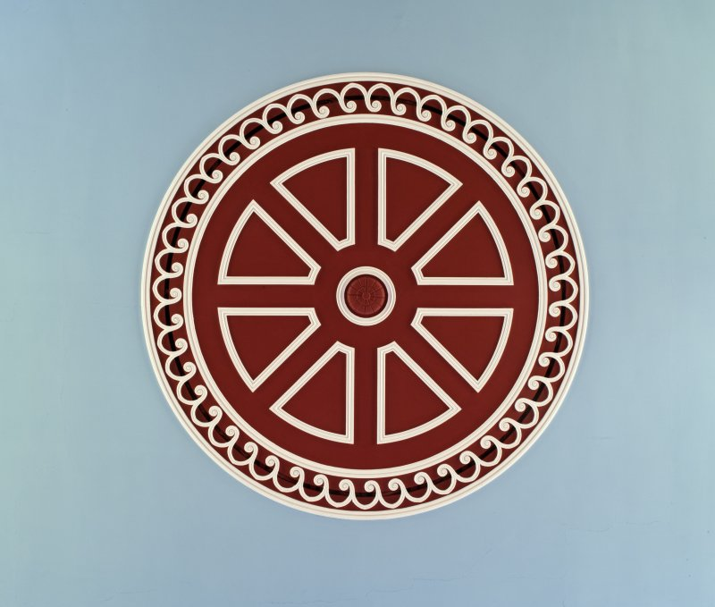 Detail of ceiling rose to centre of sanctuary ceiling. Fullarton Parish Church, Irvine.