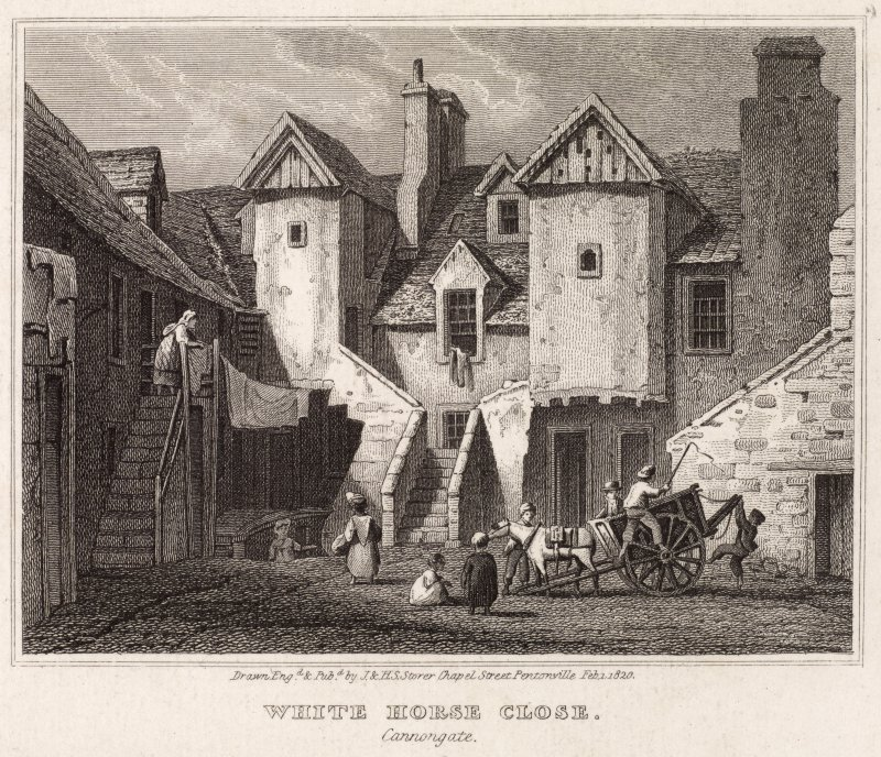 Engraving showing White Horse Close, Edinburgh, from South'.  Titled: 'White Horse Close (Canongate)'.  Inscribed: 'Drawn Engd & Pubd by J.&H.S. Storer Chapel Street Pentonville Feb 1,1820'.