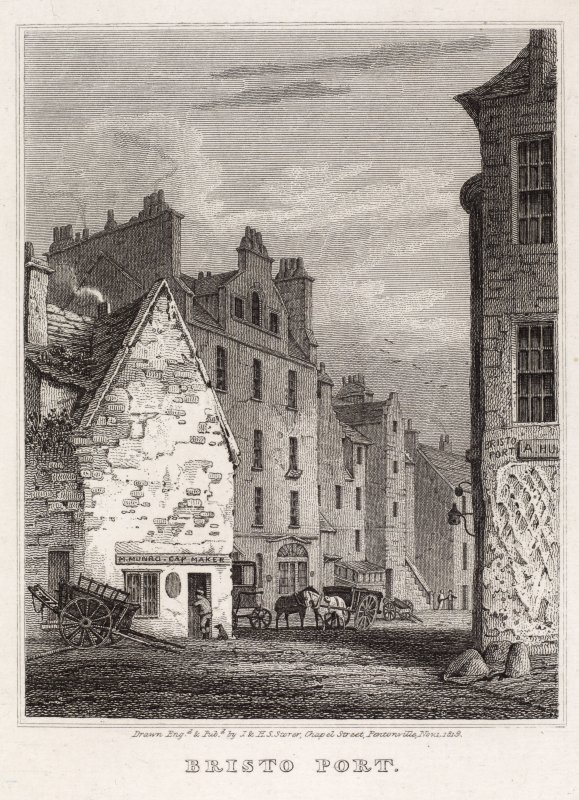 Engraving showing general view of Bristo Port, Edinburgh, from the NW looking to the 'George Inn' and Bristo Place, in the foreground a building with sign 'H Munro, cap maker'.  Titled: ''BRISTO PORT' ...