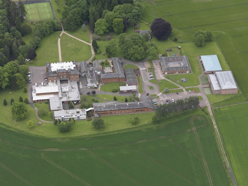 Oblique aerial view of Kilgraston House, taken from the N.