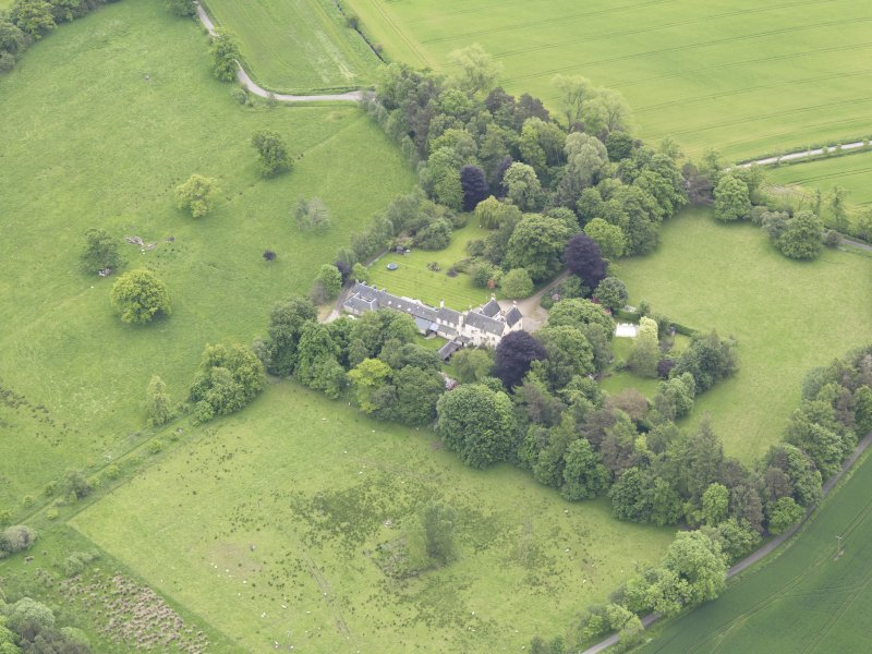 Oblique aerial view of Drummonie House, taken from the NW.