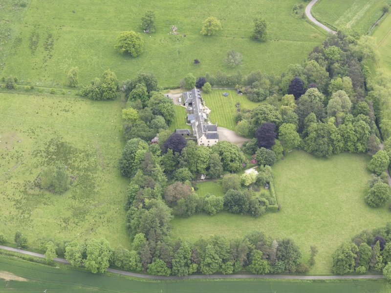 Oblique aerial view of Drummonie House, taken from the WSW.