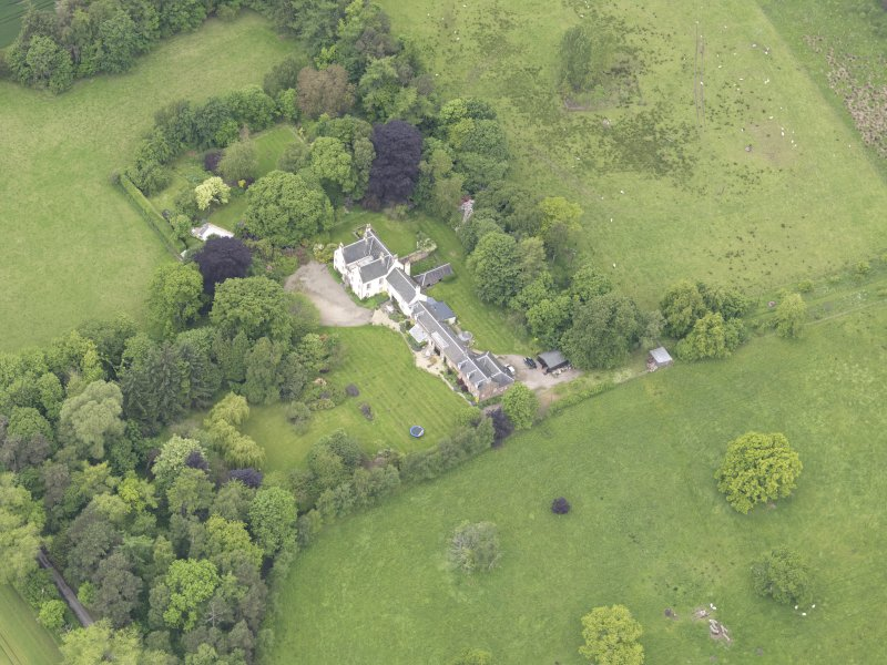 Oblique aerial view of Drummonie House, taken from the ENE.