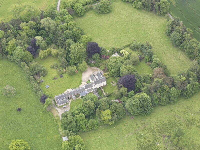 Oblique aerial view of Drummonie House, taken from the N.