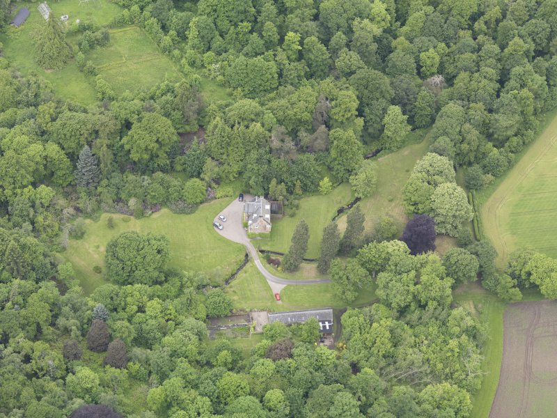 Oblique aerial view of Keltie Castle, taken from the ESE.