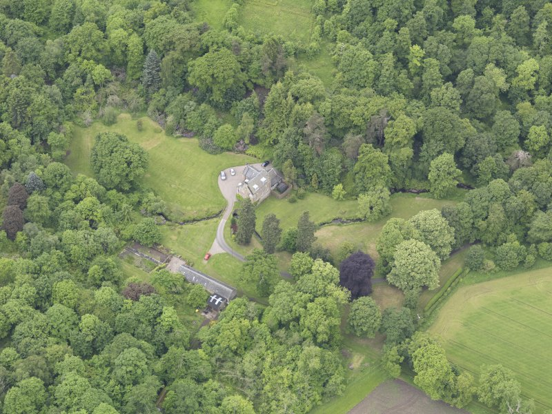 Oblique aerial view of Keltie Castle, taken from the ENE.