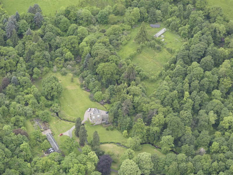 Oblique aerial view of Keltie Castle, taken from the NE.