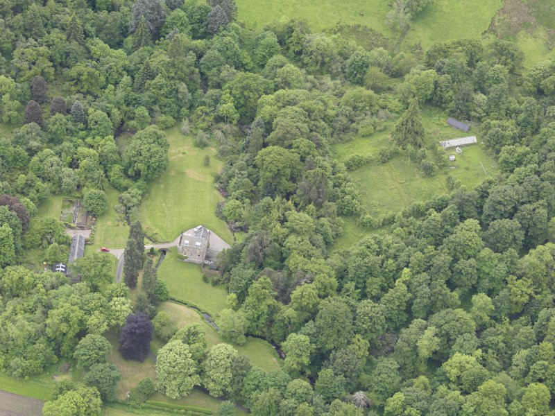 Oblique aerial view of Keltie Castle, taken from the N.