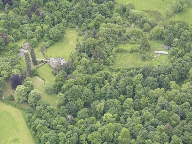 Oblique aerial view of Keltie Castle, taken from the NW.