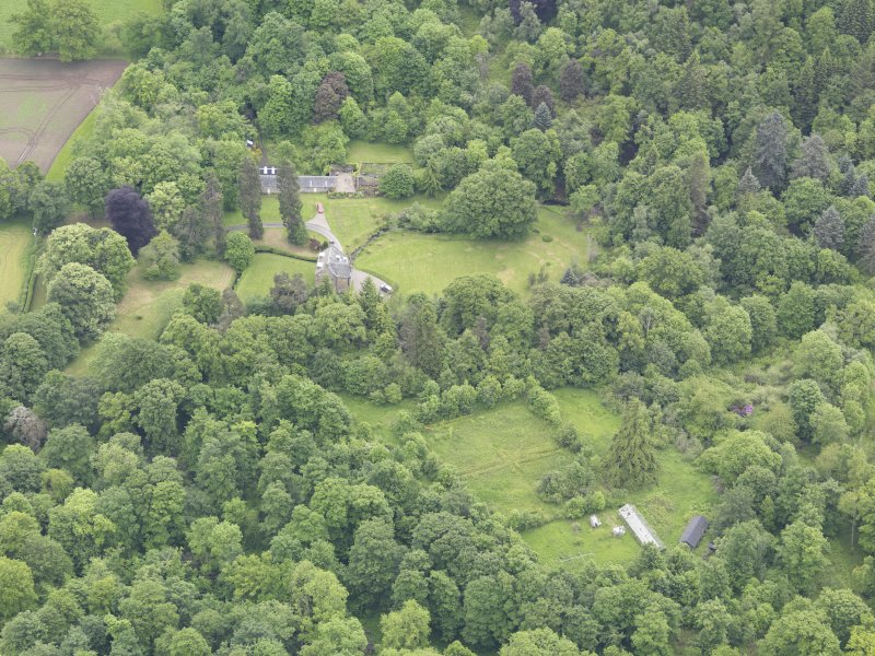 Oblique aerial view of Keltie Castle, taken from the WNW.