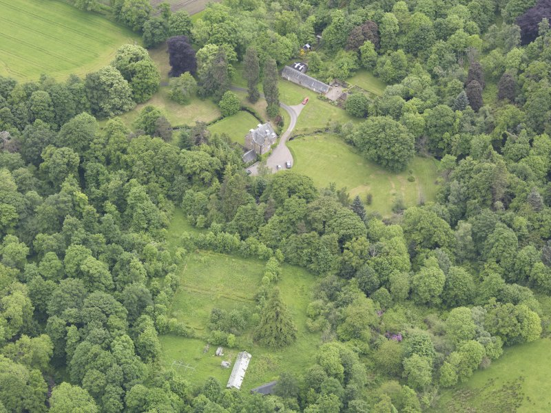 Oblique aerial view of Keltie Castle, taken from the ESE  Oblique aerial view of Keltie Castle, taken from the W.