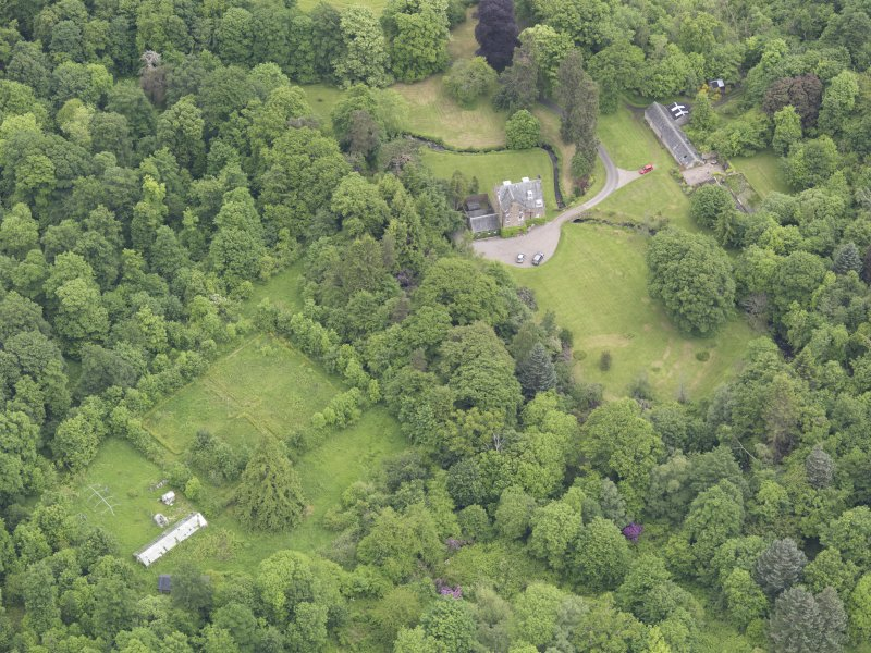 Oblique aerial view of Keltie Castle, taken from the SW.