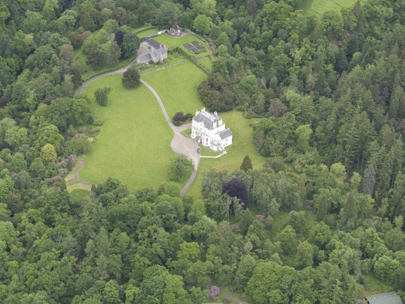 Oblique aerial view of Invermay House, taken from the SSW.