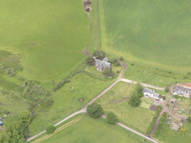 Oblique aerial view of Tullibardine Chapel, taken from the SE.