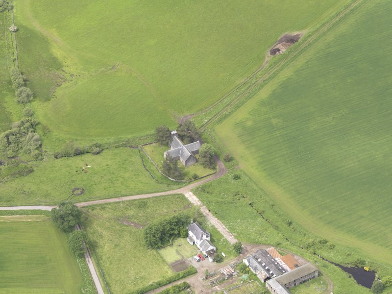 Oblique aerial view of Tullibardine Chapel, taken from the ENE.