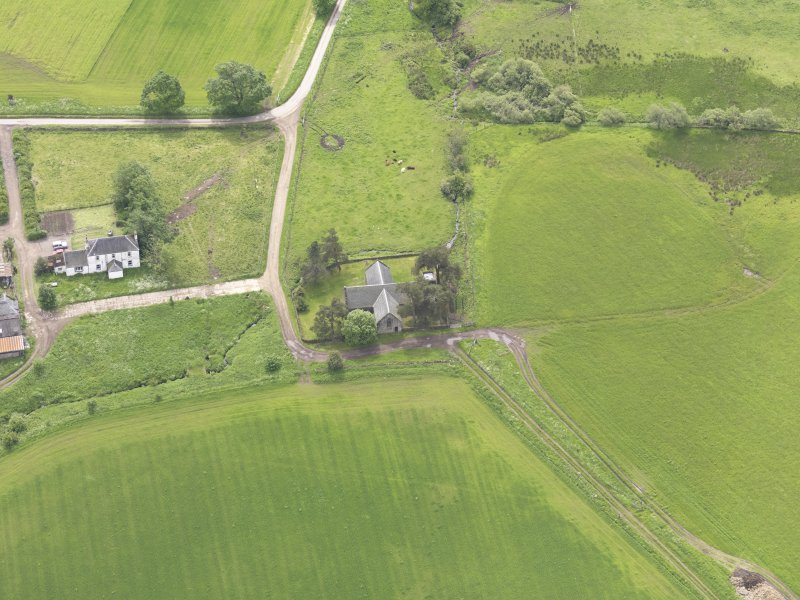 Oblique aerial view of Tullibardine Chapel, taken from the N.