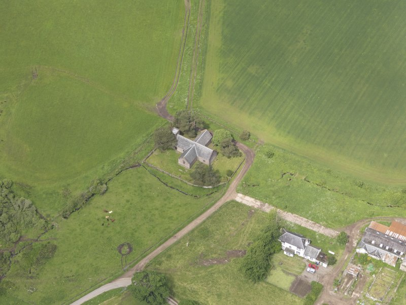 Oblique aerial view of Tullibardine Chapel, taken from the SSE.