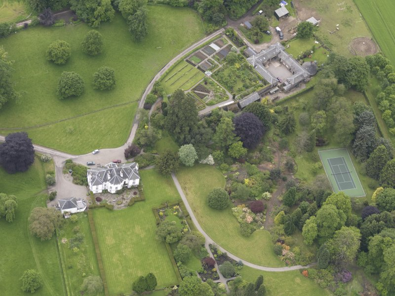 Oblique aerial view of Colquhalzie House, taken from the NNE.