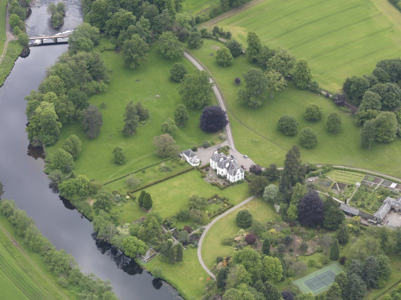 Oblique aerial view of Colquhalzie House, taken from the WNW.