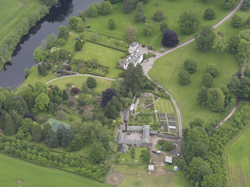 Oblique aerial view of Colquhalzie House, taken from the WSW.