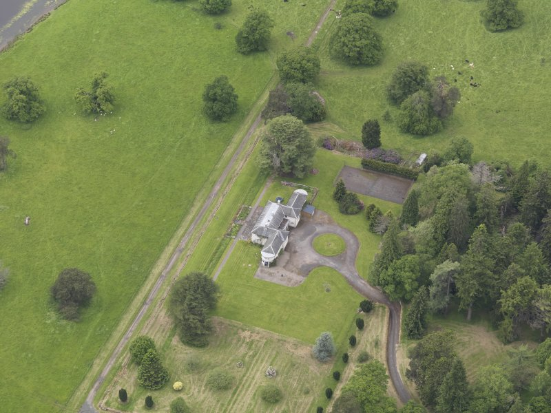 Oblique aerial view of Abercairny House, taken from the ENE.