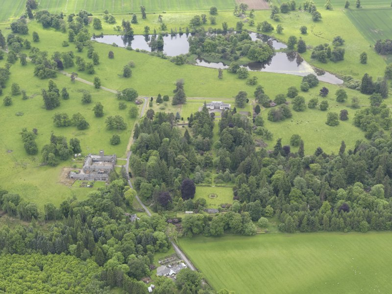 General oblique aerial view of Abercairny House, taken from the NNE.