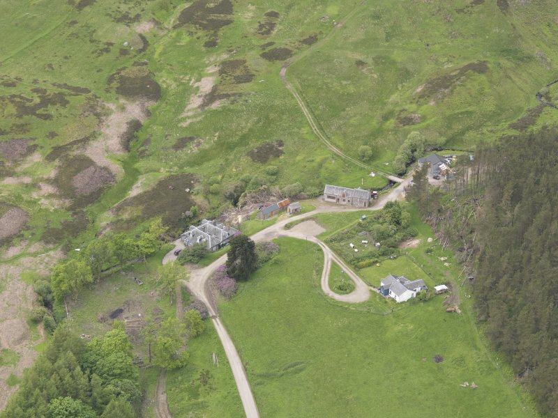 Oblique aerial view of Connachan Lodge, taken from the E.