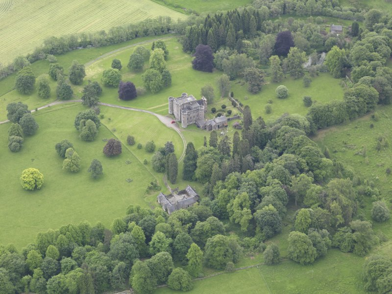 Oblique aerial view of Monzie Castle, taken from the N.