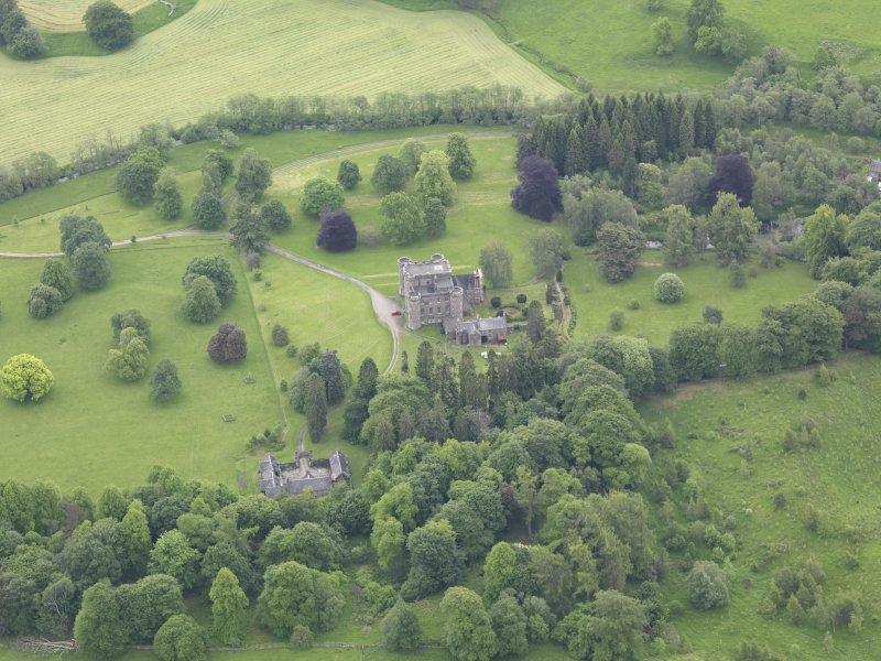 Oblique aerial view of Monzie Castle, taken from the NNW.