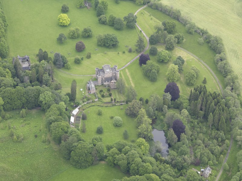 Oblique aerial view of Monzie Castle, taken from the SW.