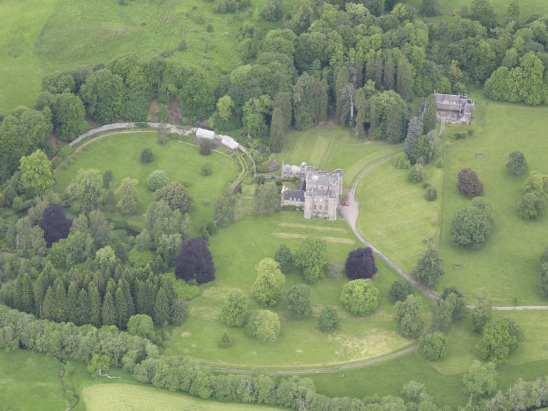Oblique aerial view of Monzie Castle, taken from the SE.