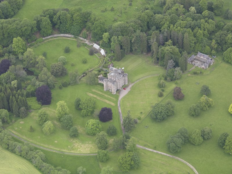 Oblique aerial view of Monzie Castle, taken from the ESE.
