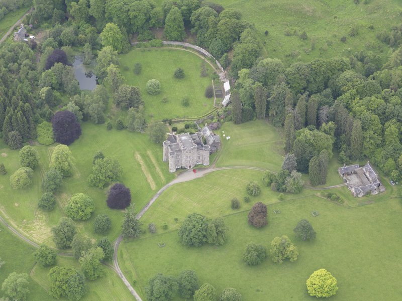 Oblique aerial view of Monzie Castle, taken from the ENE.