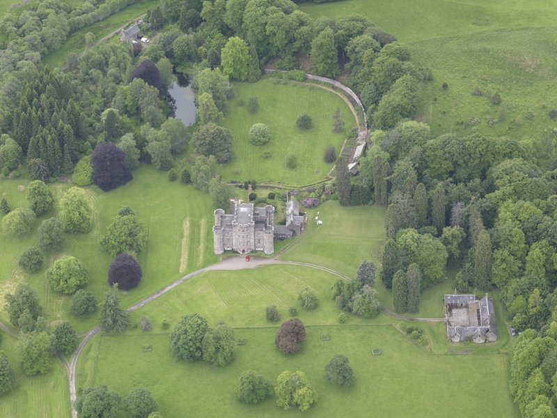 Oblique aerial view of Monzie Castle, taken from the NE.