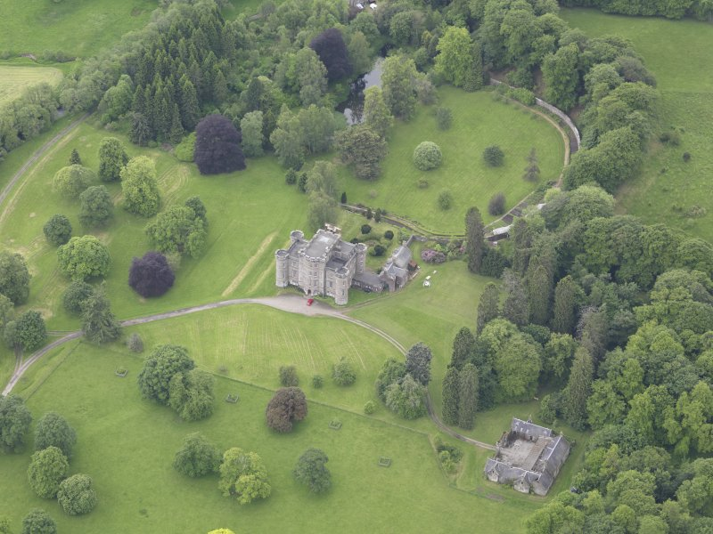 Oblique aerial view of Monzie Castle, taken from the NNE.