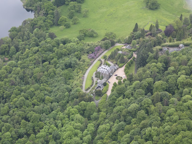 Oblique aerial view of Ochtertyre House, taken from the ENE.
