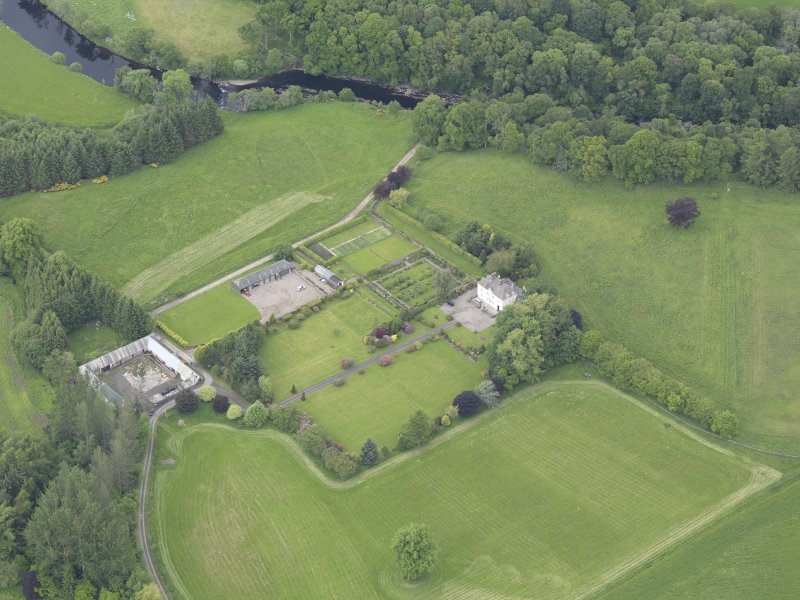 Oblique aerial view of Lochlane House, taken from the SE.