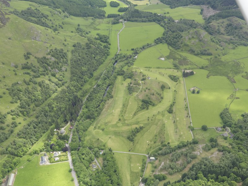 Oblique aerial view of St Fillan's Golf Course, taken from the WNW.