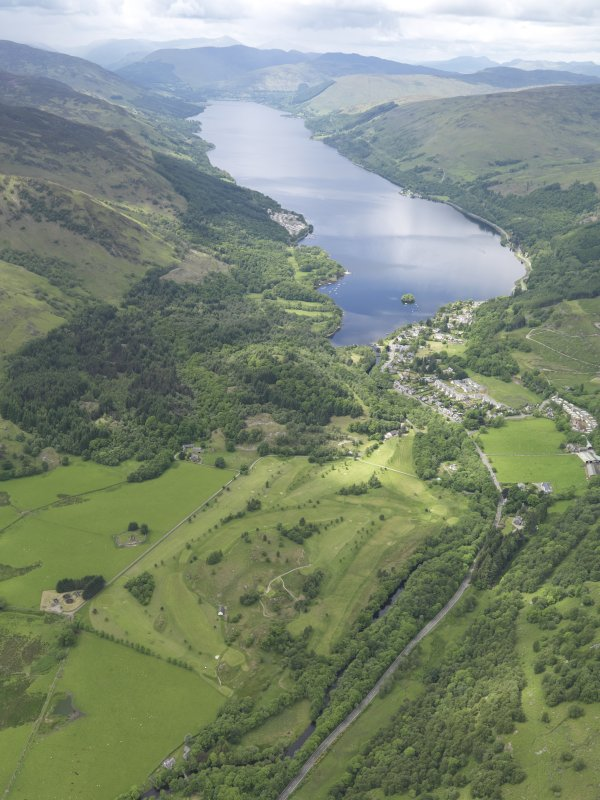 General oblique aerial view of St Fillan's Golf Course with Loch earn beyond, taken from the E.