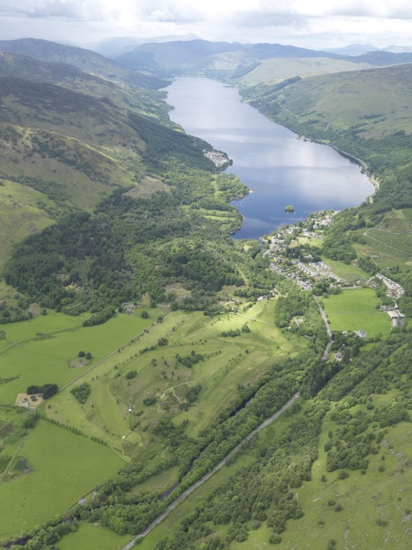 General oblique aerial view of St Fillan's Golf Course with Loch earn beyond, taken from the ENE.
