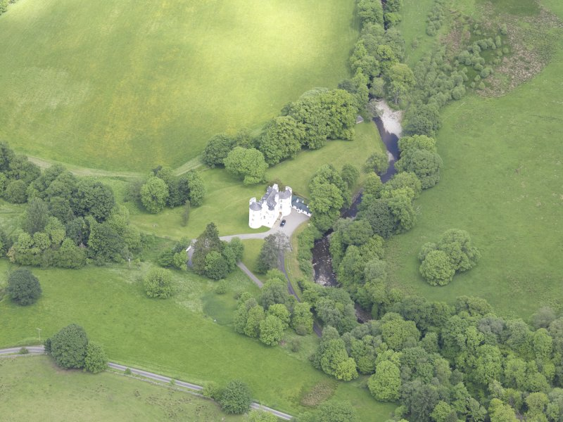 Oblique aerial view of Edinample Castle, taken from the WSW.