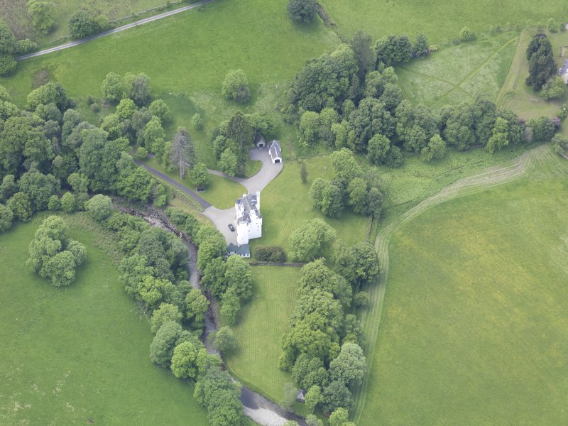 Oblique aerial view of Edinample Castle, taken from the E.