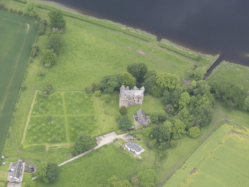 Oblique aerial view of Elcho Castle, taken from the S.