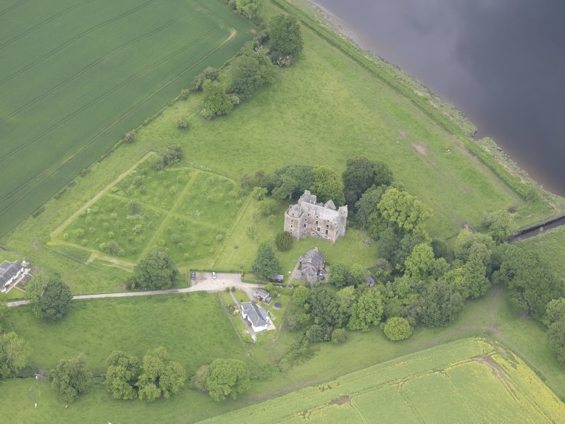 Oblique aerial view of Elcho Castle, taken from the SSE.