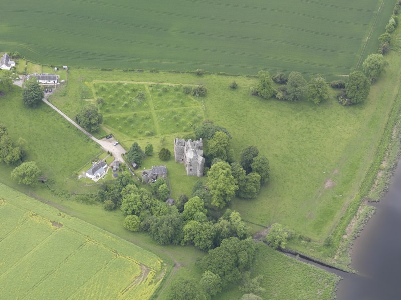 Oblique aerial view of Elcho Castle, taken from the E.